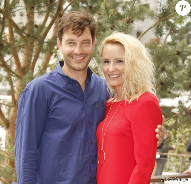 Elodie Gossuin-Lacherie et son mari Bertrand Lacherie - People au village lors des internationaux de tennis de Roland Garros le 28 mai 2018.