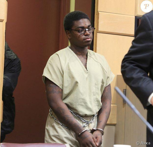 Le rappeur Kodak Black en comparution au tribunal pour violation de son assignation à domicile à Fort Lauderdale, en Floride. Mai 2017.
