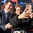 Christian Estrosi, le maire de Nice, et sa femme Laura Tenoudji Estrosi assistent à l'inauguration de la ligne 2 du tramway sur le quai Napoléon 1er, à Nice le 14 décembre 2019. © Bruno Bebert / Bestimage