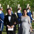 La princesse Madeleine de Suède, enceinte, son mari Christopher (Chris) O'Neill - Arrivées au dîner à bord du S/S Stockholm la veille du mariage du prince Carl Philip de Suède et de Sofia Hellqvist à Stockholm le 12 juin 2015