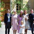 La princesse Madeleine de Suède et son mari, Christopher O'Neill en compagnie de leurs enfants, la princesse Leonore, le prince Nicolas et la princesse Adrienne et guest - Baptême de la princesse Adrienne de Suède à Stockholm au palais de Drottningholm en Suède le 8 juin 2018
