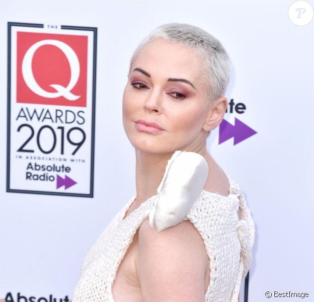 Rose McGowan aux Q Awards 2019, le 16 octobre 2019.