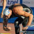 Alain Bernard au départ de sa demi-finale du 100 m nage libre, lors des Championnats du monde de natation, en juillet 2009