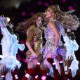 Shakira et Jennifer Lopez en concert à la mi-temps du Super Bowl LIV (Pepsi Super Bowl LIV Halftime Show) au Hard Rock Stadium. Miami, le 2 février 2019.