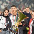 Cristiano Ronaldo, sa compagne Georgina Rodriguez et sa mère Maria Dolores dos Santos Aveiro - Cristiano Ronaldo fête en famille le titre de champion d'Italie avec son équipe la Juventus de Turin à Turin le 19 Mai 2019.