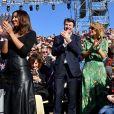 """Flora Coquerel, Miss France 2014, Ambassadrice du Carnaval 2020, en partenariat avec L'Oréal professionnel, Christian Estrosi, le maire de Nice, et sa femme Laura Tenoudji Estrosi - 1er corso fleuri dans le cadre du 136ème Carnaval de Nice """"Roi de la Mode"""" le 15 février 2020. Le Carnaval de Nice se déroule du 15 au 29 février 2020. Le Carnaval de Nice est l'un des trois plus grands et plus prestigieux au monde avec ceux de Rio et de Venise. Nice, le 15 février 2020. © Bruno Bebert/Bestimage"""