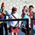 Christian Estrosi, le maire de Nice et sa femme Laura Tenoudji participent au jogging du Carnaval de Nice sur la promenade des Anglais à Nice, le 15 février 2020. Tous les participants sont déguisés. © Bruno Bebert / Bestimage