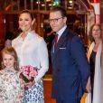 """La princesse Victoria, le prince Daniel et la princesse Estelle de Suède au concert de l'école de musique """"Lilla Akademien"""" à Stockholm, le 13 février 2020."""