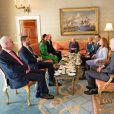 Le président irlandais Michael D.Higgins et sa femme Sabina Coyne, reçoivent le prince William, duc de Cambridge, et Catherine (Kate) Middleton, duchesse de Cambridge, à la résidence présidentielle officielle Aras an Uachtarain à Dublin, Irlande, le 3 mars 2020, pour une visite officielle de 3 jours.