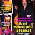 """Couverture du magazine """"Public"""", numéro du 6 mars 2020. Le magazine a annoncé que Jean Dujardin et Nathalie Péchalat ont quitté la France et se sont installés en Suisse, une infomation démentie par le couple."""
