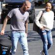 Matt Pokora et sa compagne Christina Milian se baladent avec leur fils Isaiah dans le quartier de West Hollywood à Los Angeles. Le 11 février 2020.