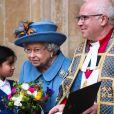 La reine Elisabeth II d'Angleterre - La famille royale d'Angleterre à la sortie de la cérémonie du Commonwealth en l'abbaye de Westminster à Londres, le 9 mars 2020.