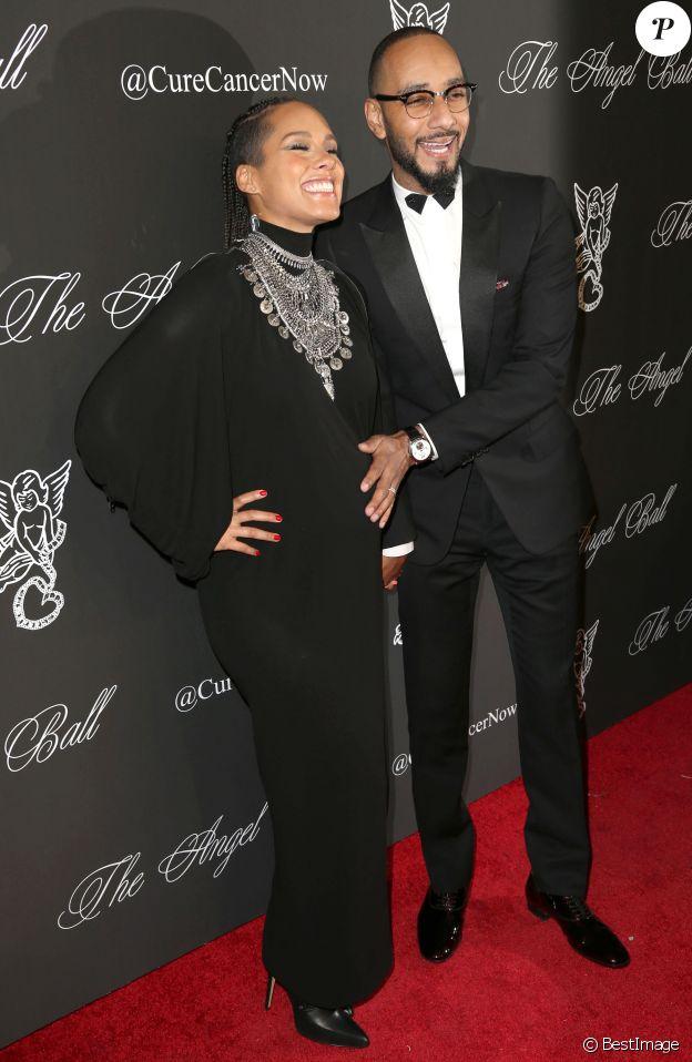 """Alicia Keys (enceinte) et son mari Swiss Beat à la soirée """"Angel Ball 2014"""" à New York, le 20 octobre 2014."""