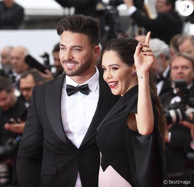 """Nabilla Benattia (enceinte) et son mari Thomas Vergara - Montée des marches du film """"A Hidden Life"""" lors du 72ème Festival International du Film de Cannes, le 19 mai 2019."""