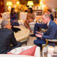 The Duke of Cambridge talks to the President of the United States Barack Obama (front left), with the Duchess of Cambridge, First Lady Michelle Obama (back left) and Prince Harry (back right), in the Drawing Room of Apartment 1A Kensington Palace, London, prior to a private dinner hosted by the Duke and Duchess in their official residence at the palace. London, UK, Friday April 22, 2016. Photo by Dominic Lipinski/PA Wire/ABACAPRESS.COM