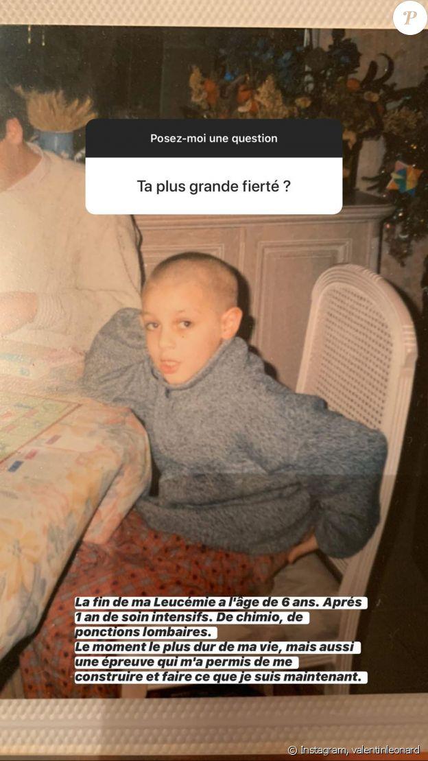 Valentin Léonard confie son combat contre une leucémie lorsqu'il avait 6 ans, sur Instagram le 2 avril 2020.