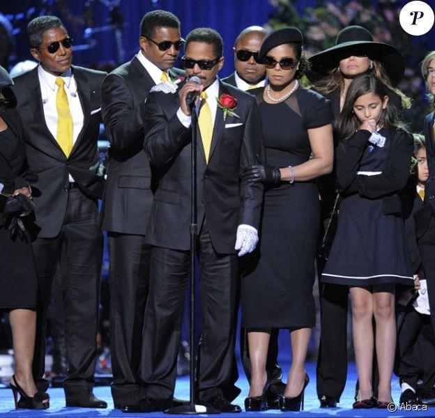 Le clan de Michael Jackson lors de son hommage public le 7 juillet 2009 au Staples Center
