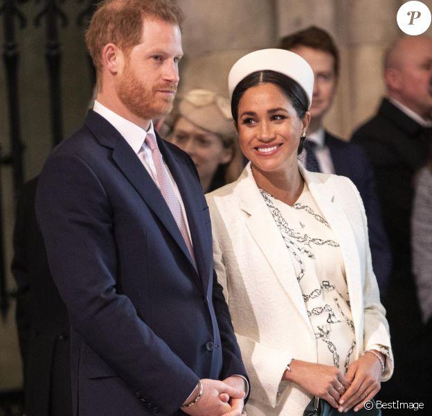 Meghan Markle, duchesse de Sussex (enceinte) et le prince Harry, duc de Sussex - Messe en l'honneur de la journée du Commonwealth à l'abbaye de Westminster à Londres, le 11 mars 2019.