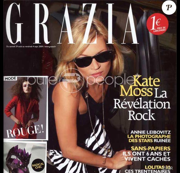 Kate Moss en couverture de Grazia