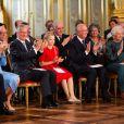 La reine Mathilde et le roi Philippe de Belgique, la princesse Elisabeth, le roi Albert II de Belgique et la reine Paola de Belgique - La princesse Elisabeth de Belgique célèbre ses 18 ans au Palais royal de Bruxelles, le 25 octobre 2019.