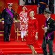 Le prince Laurent et sa femme la princesse Claire, la reine Mathilde et le roi Philippe lors de la fête nationale belge le 21 juillet 2018.
