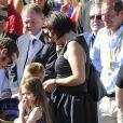 Bradley Wiggins (vainqueur du Tour de France 2012) avec sa femme Cath et leurs deux enfants - Arrivée de la 99e édition du Tour de France le 22 juillet 2012.