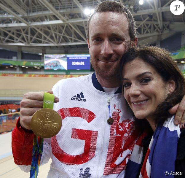 Bradley Wiggins avec sa femme Catherine lors des Jeux olympiques de Rio de Janeiro, été 2016.