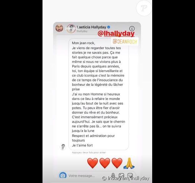 Laeticia Hallyday a écrit à Jean-Roch le 21 mai 2020, lorsqu'elle a appris la fermture définitive du VIP Room à Paris.