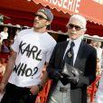 Karl Lagerfeld, Sebastien Jondeau et Baptiste Giabiconi en vacances à Saint-Tropez en 2009.