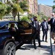 Le prince Albert II de Monaco, masqué, a visité les deux centres de dépistage de l'épidémie de Coronavirus (Covid-19) pour tester toute la population monégasque, à Monaco le 26 mai 2020. © Bruno Beber / Bestimage