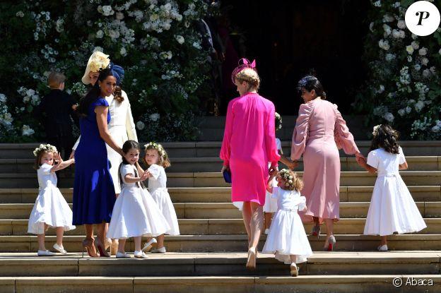 Kate Middleton et sa fille Charlotte, Jessica Mulroney, amie proche de Meghan Markle et les demoiselles d'honneur - Mariage du prince Harry et Meghan Markle à Windsor, le 19 mai 2018.