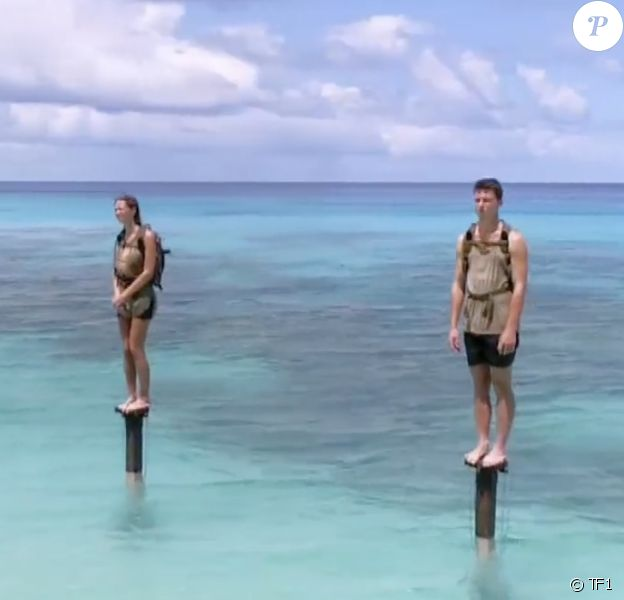 "Brice, Alexandra et Loïc dans ""Koh-Lanta, Les 4 Terres"" sur TF1."