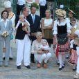 Mélanie-Antoinette de Massy, Elisabeth-Anne de Massy, le prince Albert de Monaco, le prince Jacques, la princesse Charlene, la princesse Gabriella, Georges Marsan (le maire de Monaco) au traditionnel pique-nique de la Principauté, qui se tient chaque année au parc de la princesse Antoinette le 28 août 2015.