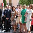 Louis Ducruet, la princesse Stéphanie de Monaco, Camille Gottlieb, Pauline Ducruet, la princesse Caroline de Hanovre, Sacha Casiraghi, Andrea Casiraghi, Tatiana Santo Domingo Casiraghi, Elisabeth-Anne de Massy - Premier jour des célébrations des 10 ans de règne du prince Albert II de Monaco à Monaco, le 11 juillet 2015.
