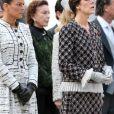 La princesse Stephanie de Monaco, Elisabeth-Anne de Massy, la princesse Caroline de Hanovre et la princesse Charlene de Monaco - La famille princiere de Monaco dans la cour du palais lors de la ceremonie militaire a Monaco le 19 Novembre 2012.