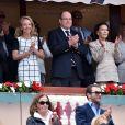 Le Prince Albert II de Monaco, Camilla de Bourbon-Siciles et Elisabeth Anne de Massy, cousine du Prince et présidente de la fédération monégasque de Tennis, ont assisté à la victoire de Novak Djokovic en finale de la 109ème édition du Monte Carlo Rolex Masters à Roquebrune Cap Martin le 19 avril 2015.
