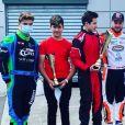 Tom Pernaut, fils de Nathalie Marquay et Jean-Pierre Pernaut a remporté un trophée après avoir participé à une course de karting. Juin 2020.