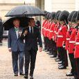 Le prince Charles, prince de Galles, et Camilla Parker Bowles, duchesse de Cornouailles accueillent le président de la République française Emmanuel Macron dans la maison royale Clarence House, pour la commémoration du 80ème anniversaire de l'appel du 18 juin du général de Gaulle à Londres, Royaume Uni, le 18 juin 2010.