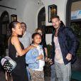 Christina Milian, enceinte, son compagnon Matt Pokora et sa fille Violet Madison sont allés dîner dans le restaurant Madeo à Beverly Hills, le 8 août 2019