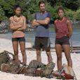 """Claude, Naoil et Inès lors de l'épreuve des poteaux durant la finale de """"Koh-Lanta, l'île des héros"""" (TF1) vendredi 5 juin 2020."""