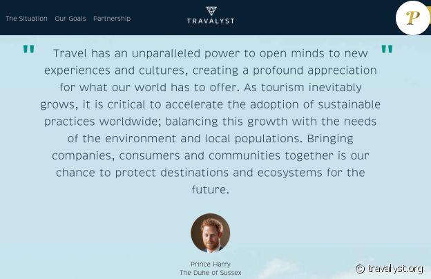 """Le prince Harry n'est plus une """"altesse royale"""" sur le site de son projet Travalyst. Juillet 2020."""