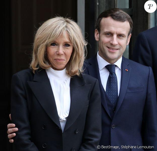Le président Emmanuel Macron, la première dame Brigitte Macron - Le roi et la reine d'Espagne arrivent au palais de l'Elysée à Paris pour un déjeuner avant la cérémonie à l'occasion de la première journée nationale d'hommage aux victimes du terrorisme le 11 mars 2020. © Stéphane Lemouton / Bestimage