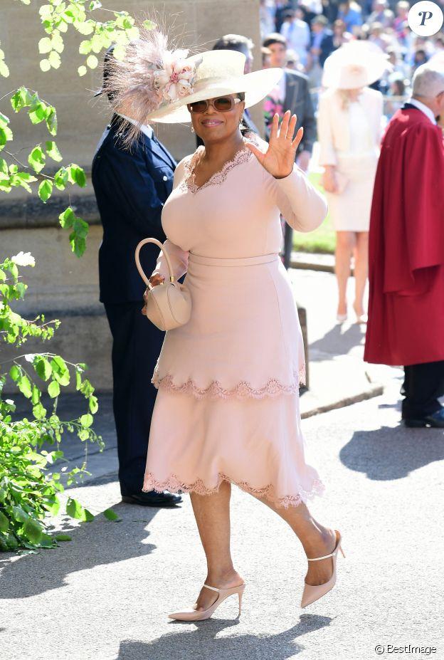 Oprah Winfrey - Les invités arrivent à la chapelle St. George pour le mariage du prince Harry et de Meghan Markle au château de Windsor, Royaume Uni, le 19 mai 2018.