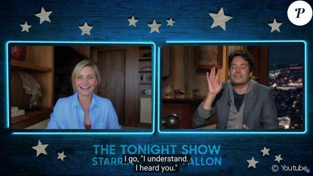 """Cameron Diaz dans l'émission """"The Tonight Show"""" avec Jimmy Fallon, le 22 juillet 2020."""