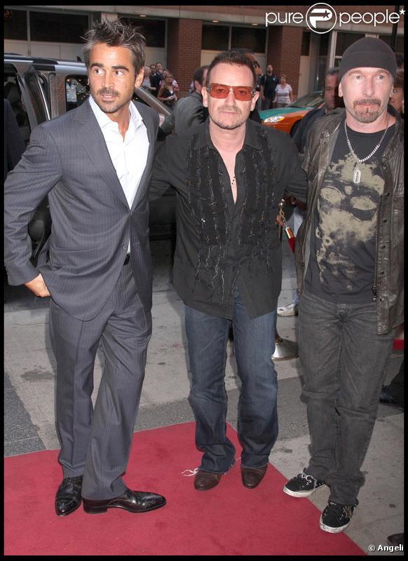 Colin Farrell, Bono et The Edge lors de la première du film Ondine lors du Festival de Toronto le 14 septembre 2009