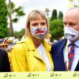 La princesse Charlene de Monaco et le prince Albert II de Monaco durant le 1er jour du Tour de France 2020 à Nice, le 29 août 2020. Un tour de France placé sous des mesures sanitaires strictes en période de COVID-19. © Bruno Bebert / Bestimage