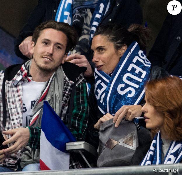 Alessandra Sublet et un ami, Maëva Coucke (Miss France 2018) - People assistent au match des éliminatoires de l'Euro 2020 entre la France et l'Islande au Stade de France à Saint-Denis. La france a remporté le match sur le score de 4-0.