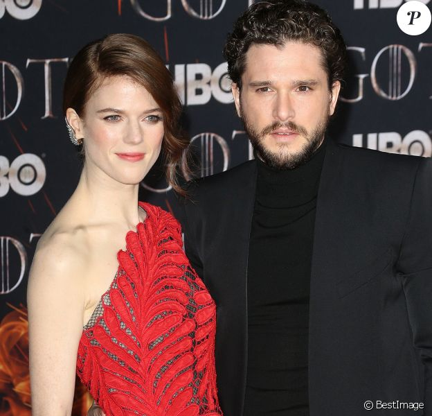 """Rose Leslie et son mari Kit Harington à la première de """"Game of Thrones - Saison 8"""" au Radio City Music Hall à New York, le 3 avril 2019."""