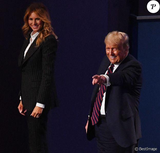 Donald Trump et sa femme la Premiere Dame Melania Trump - Présidentielle américaine : Premier débat entre Donald Trump et Joe Biden à Cleveland dans l'Ohio. Les deux candidats à la présidence des Etats-Unis s'affronteront sur six thèmes, dont la nomination polémique d'une juge à la Cour suprême et la crise sanitaire qui secoue le pays, fin septembre 2020