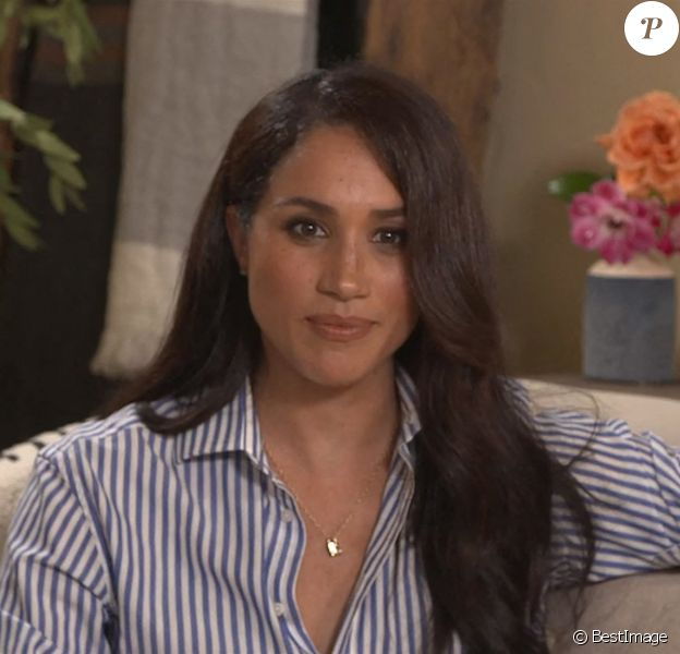 Meghan Markle, duchesse de Sussex en pleine interview pour TIME 100 television ABC, 2020.
